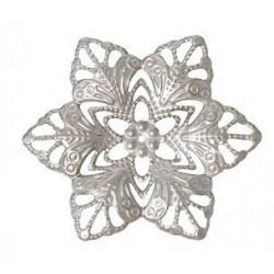 Fleur métal argent