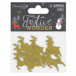 12 Wooden Stags Glitter Cerfs