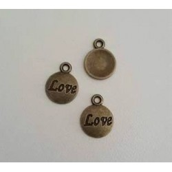 "breloque ronde Bronze ""Love"""